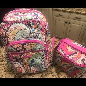 Vera Bradley Campus Backpack and lunch cooler